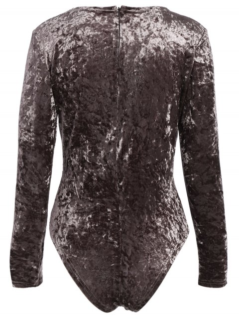 buy Plunging Neck Velvet Long Sleeve Bodysuit - COFFEE BROWN L Mobile