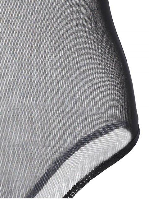 shop Embroidered Floral Sheer Bodysuit - BLACK XL Mobile