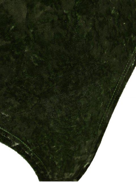 Body en velours col plongeant manches longues - Vert Foncé Perle L Mobile