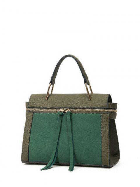 hot Zip Around Faux Leather Handbag - GREEN  Mobile