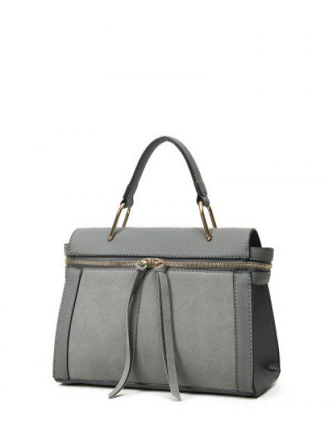 shop Zip Around Faux Leather Handbag - GRAY  Mobile
