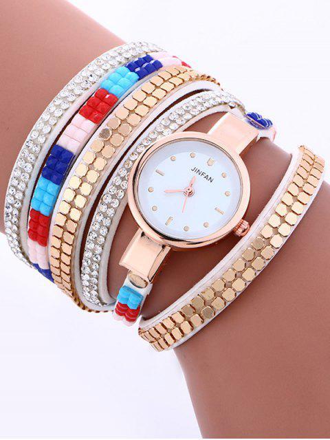 lady Layered Studded Bracelet Watch - WHITE  Mobile
