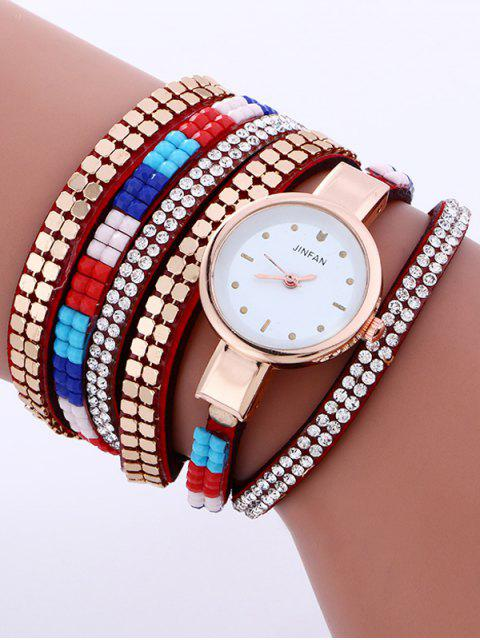 best Layered Studded Bracelet Watch - RED  Mobile