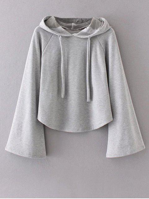women's Slouchy Flare Sleeve Pullover Hoodie - GRAY L Mobile