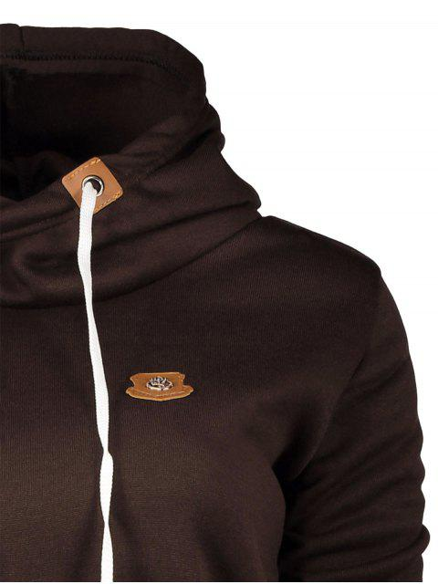 unique Badge Patch High Neck Drawstring Hoodie - COFFEE M Mobile