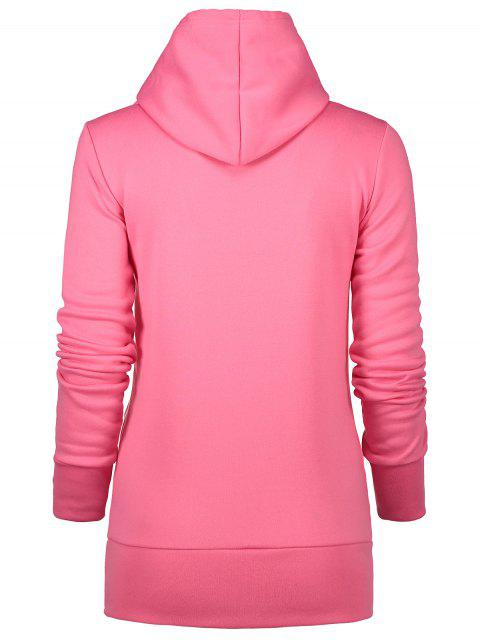shop Badge Patch High Neck Drawstring Hoodie - ROSE RED XL Mobile