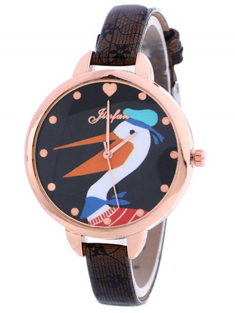 shop Faux Leather Swan Quartz Watch - BLACK  Mobile