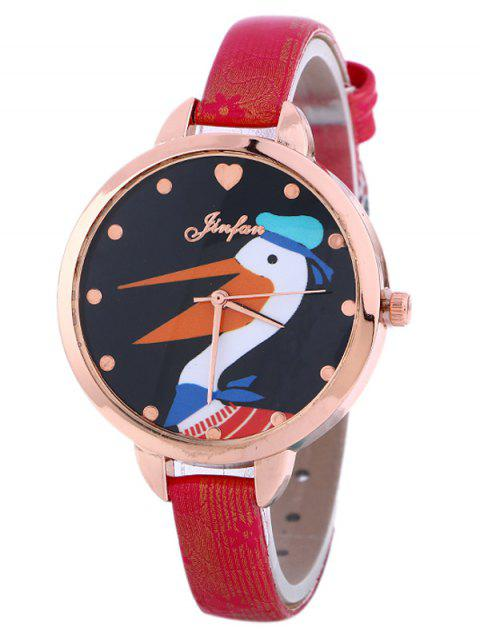 shops Faux Leather Swan Quartz Watch - RED  Mobile
