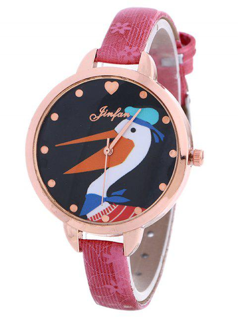 trendy Faux Leather Swan Quartz Watch -   Mobile