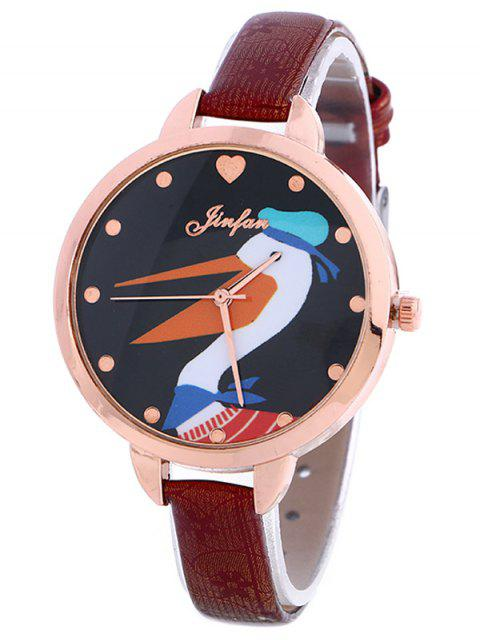 chic Faux Leather Swan Quartz Watch - BURGUNDY  Mobile