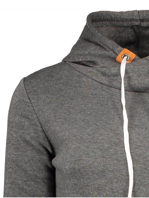 women's Badge Patch High Neck Drawstring Hoodie - DEEP GRAY L Mobile
