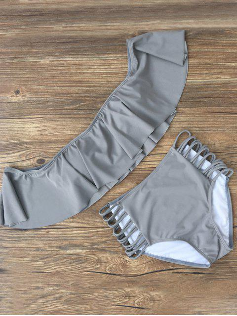 women Flounced Off The Shoulder Bikini - GRAY L Mobile