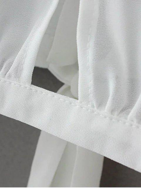 fashion Contrast Lace Bow Tie Top - WHITE L Mobile