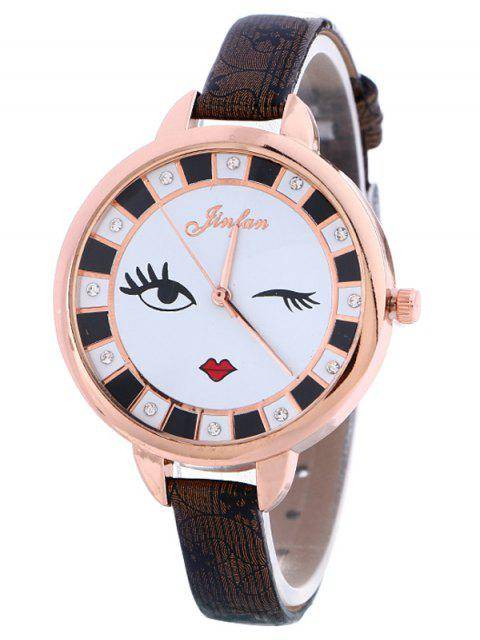 unique Rhinestone Cartoon Quartz Watch - BLACK  Mobile
