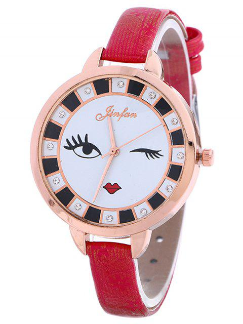 affordable Rhinestone Cartoon Quartz Watch - RED  Mobile