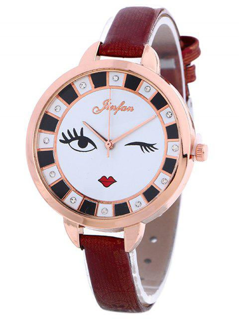 womens Rhinestone Cartoon Quartz Watch - WINE RED  Mobile