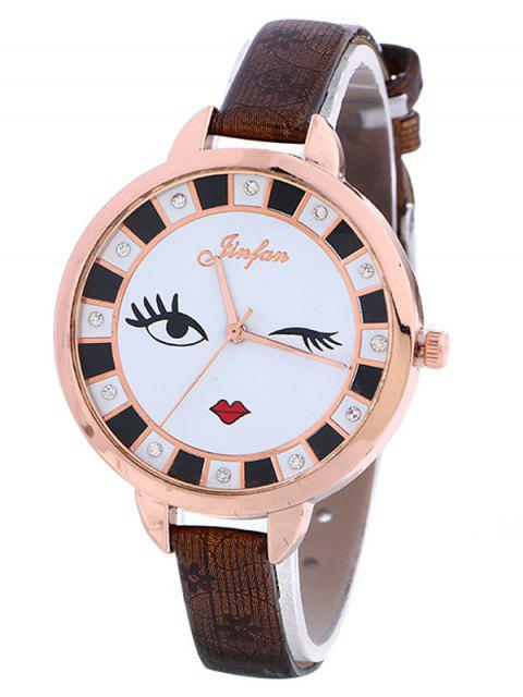 women's Rhinestone Cartoon Quartz Watch - BROWN  Mobile