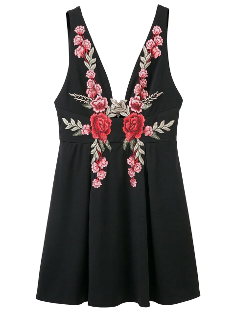 Floral Applique Low Cut Mini-robe - Noir S Mobile