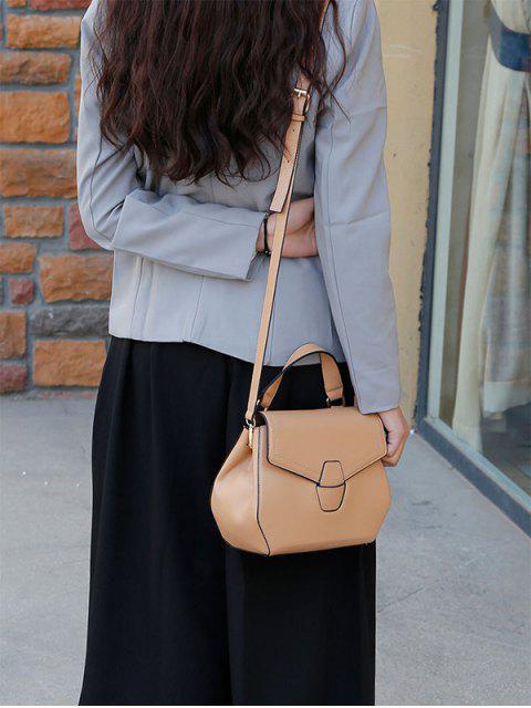 shops PU Leather Flapped Handbag - KHAKI  Mobile
