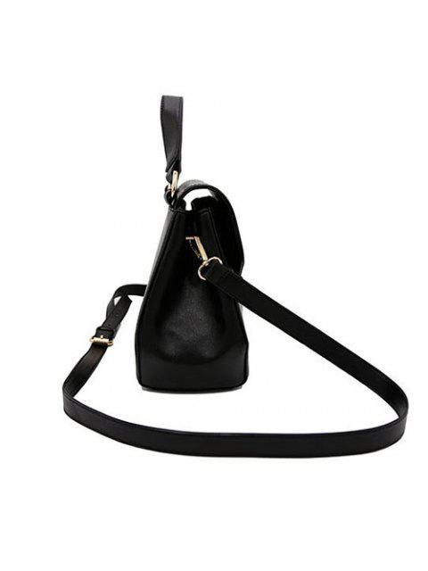 latest PU Leather Flapped Handbag - BLACK  Mobile