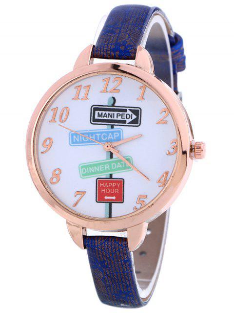 online Faux Leather Guidepost Pattern Quartz Watch - BLUE  Mobile