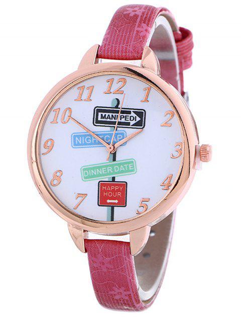 hot Faux Leather Guidepost Pattern Quartz Watch - TUTTI FRUTTI  Mobile