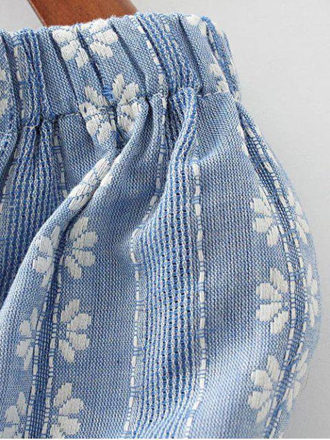 fancy Floral Embroidered Off Shoulder Top - LIGHT BLUE S Mobile