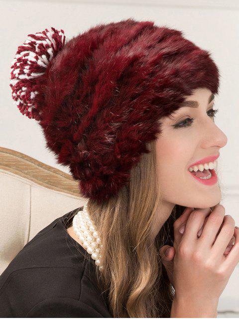 shops Faux Rabbit Fur Pom Hat - WINE RED  Mobile