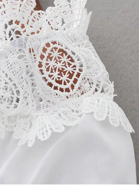 buy Boat Neck Lace Panel Top - WHITE M Mobile