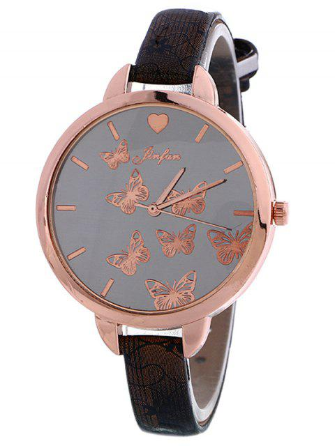outfits Faux Leather Butterfly Quartz Watch - BLACK  Mobile