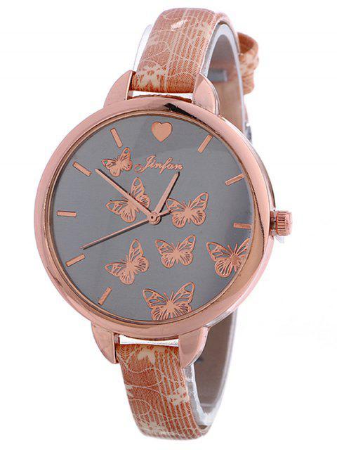 shop Faux Leather Butterfly Quartz Watch - PINK  Mobile