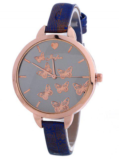 Kunstleder Schmetterling-Quarz-Uhr - Blau  Mobile