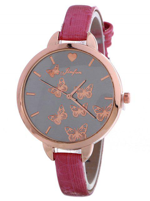 fashion Faux Leather Butterfly Quartz Watch -   Mobile