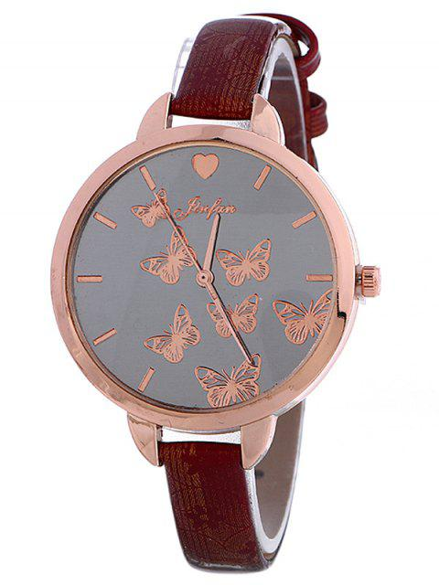 chic Faux Leather Butterfly Quartz Watch -   Mobile