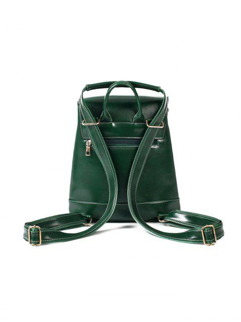 trendy Buckle Strap Faux Leather Backpack Set -   Mobile