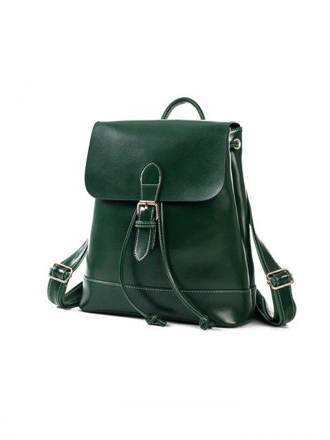 fashion Buckle Strap Faux Leather Backpack Set -   Mobile