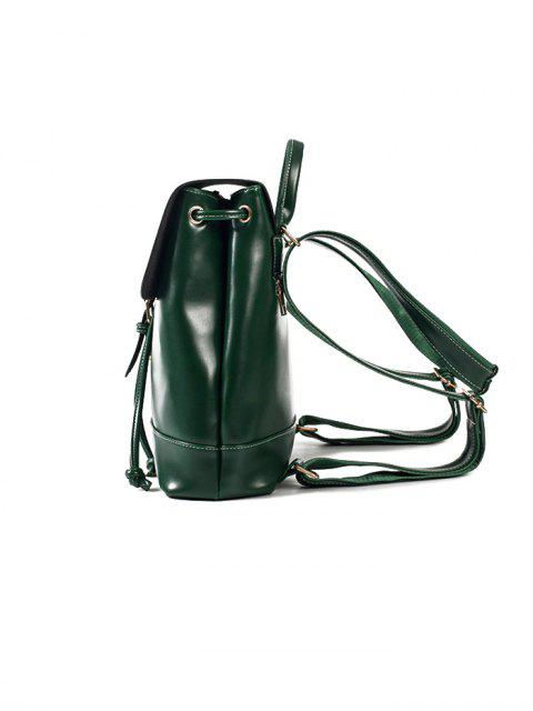 chic Buckle Strap Faux Leather Backpack Set -   Mobile