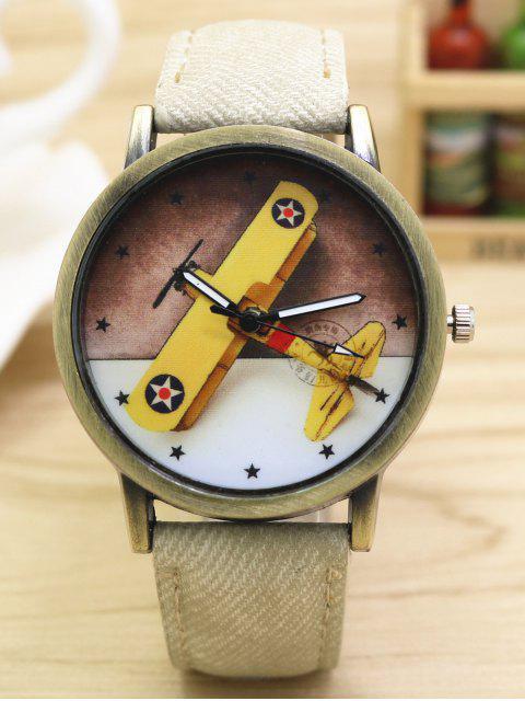 unique Cartoon Airplane Quartz Watch - WHITE  Mobile