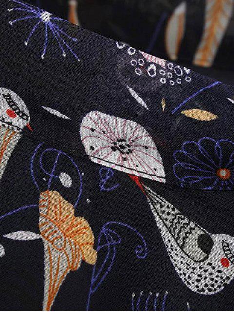 latest Printed High Collar Chiffon Flowing Dress - PURPLISH BLUE M Mobile