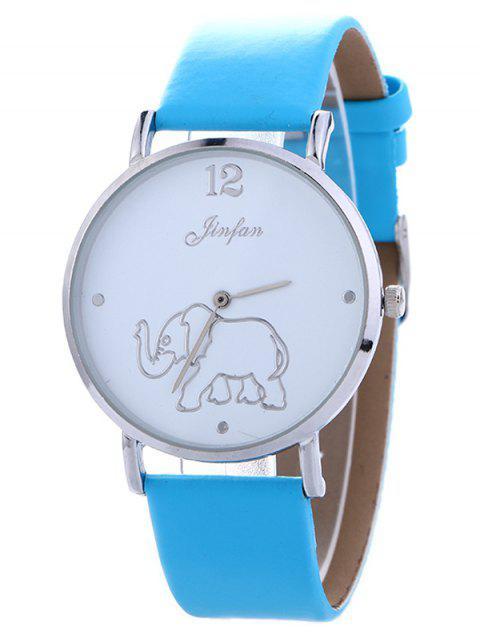 lady Faux Leather Elephant Quartz Watch - BLUE  Mobile