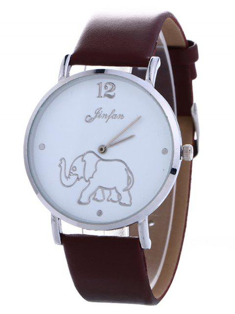 online Faux Leather Elephant Quartz Watch - BROWN  Mobile