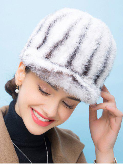 chic Vertical Striped Fur Baseball Cap - WHITE  Mobile