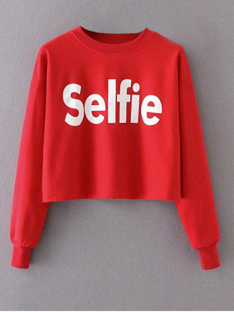 new Cropped Selfie Sweatshirt - RED S Mobile