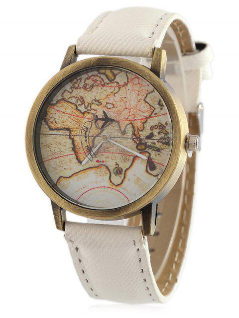 unique Faux Leather Map Quartz Watch - WHITE  Mobile