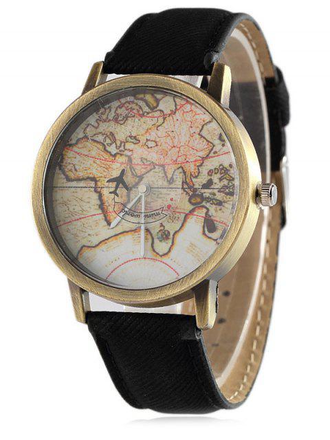 Montre en quartz imprimée de carte mondiale avec bracelet en cuir faux - Noir  Mobile