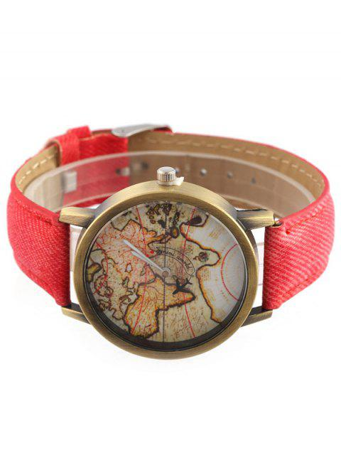 affordable Faux Leather Map Quartz Watch - RED  Mobile