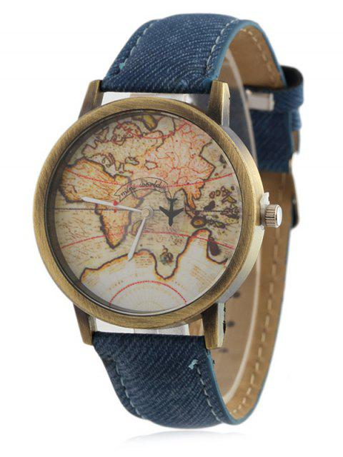 womens Faux Leather Map Quartz Watch -   Mobile