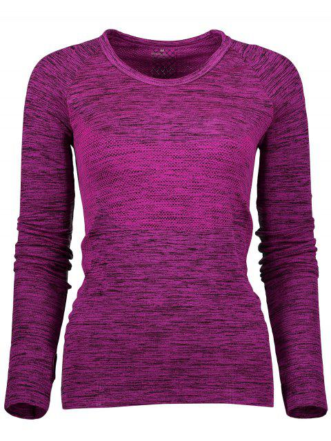 fancy Long Sleeve Space Dye Running Top - PURPLISH RED M Mobile