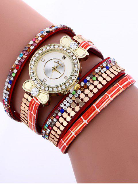 outfits Layered Studded Analog Bracelet Watch - RED  Mobile