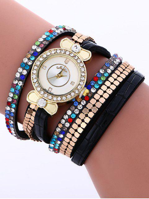 shops Layered Studded Analog Bracelet Watch - BLACK  Mobile